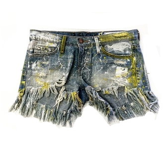 CUSTOM PAINTED JEAN SHORTS YELLOW