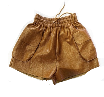 TAN SHINY HIGH SHORTS