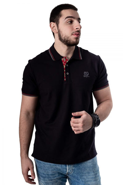 Black Button-Front Polo Shirt By Fergana