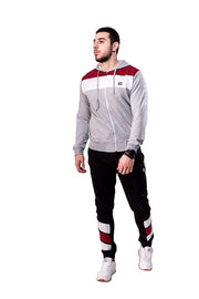 GREY ZIPPED TRACKSUIT WITH BLACK BOTTOM