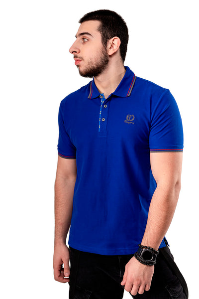Blue Button-Front Polo Shirt By Fergana