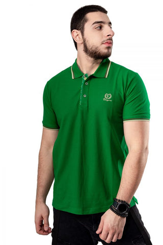 Green Button-Front Polo Shirt By Fergana