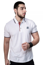 White Button-Front Polo Shirt By Fergana