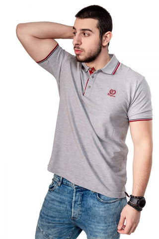 Grey Button-Front Polo