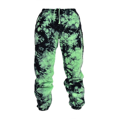 Men Slime Green Lighting Tie Dye Sweatpants