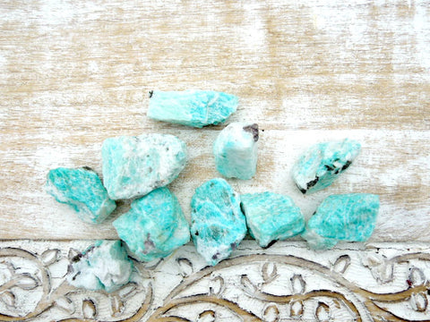 raw amazonite tourmaline stone