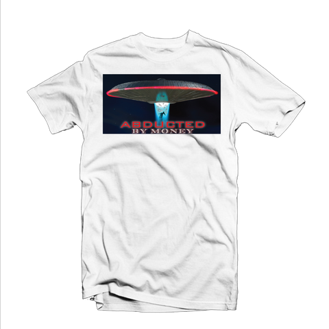 """Abducted by Money"" T Shirt (White/Red/Blue)"