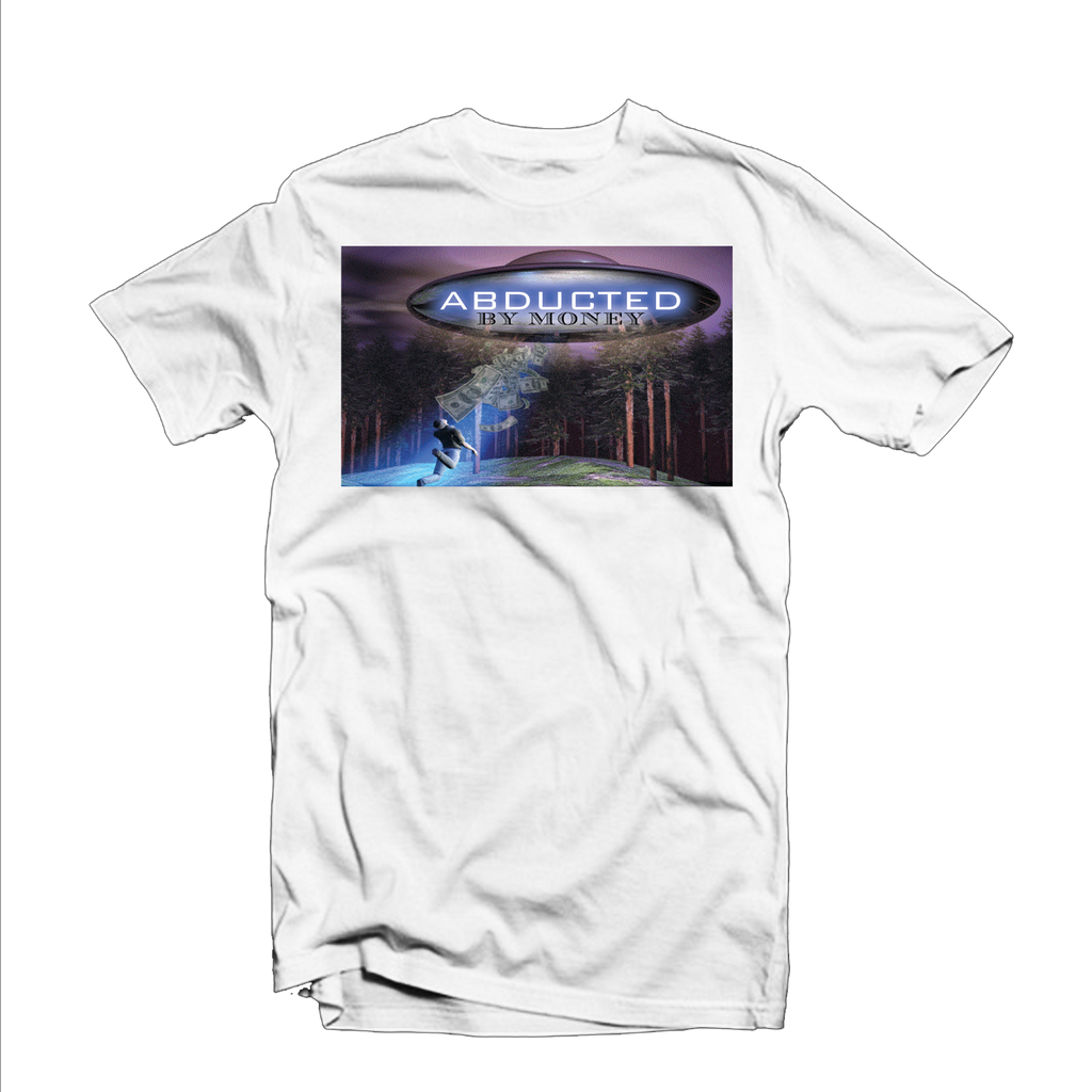 """Abducted by Money"" T Shirt (White/Purple/Blue)"