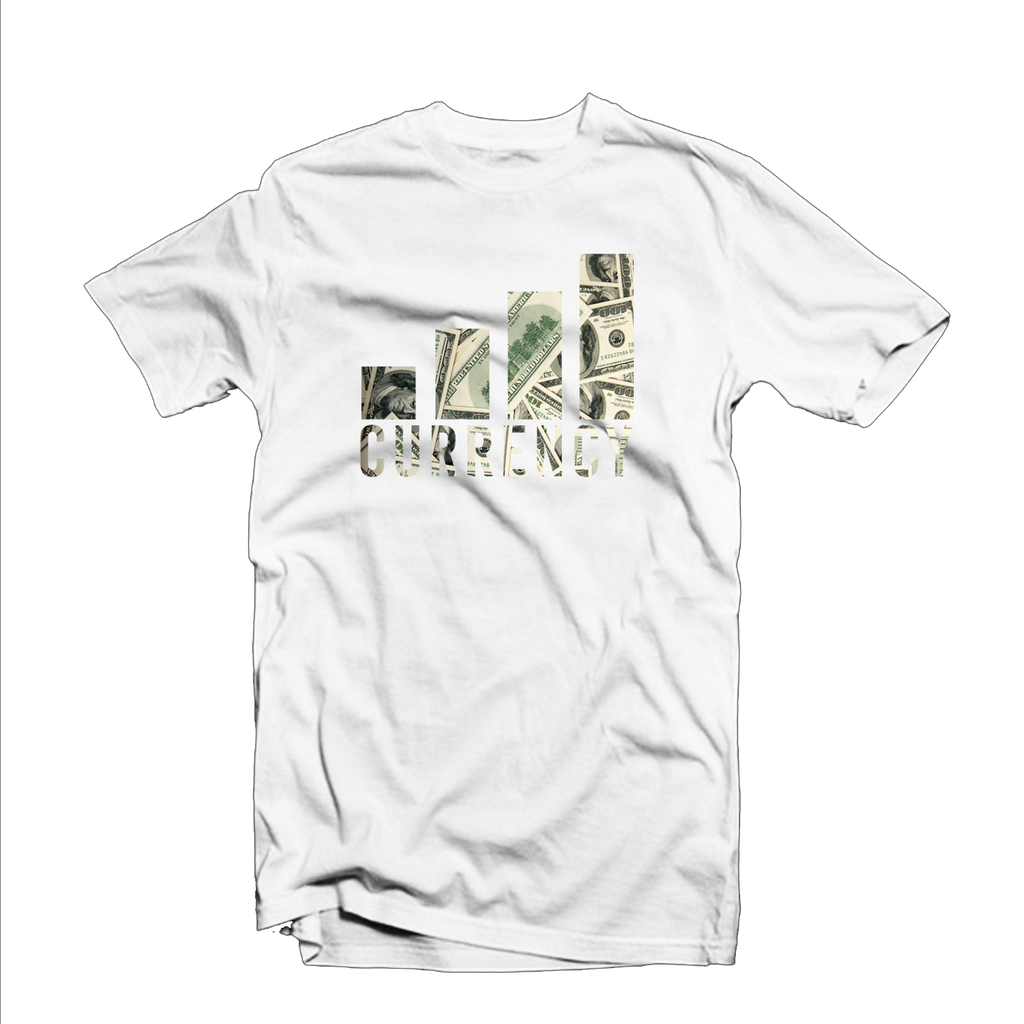 "Currency Exchange ""Bar Rise"" T Shirt (White/Money Design)"