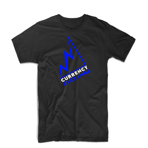 "Currency Exchange ""Stock Rise"" Bold T Shirt (Black/Royal Blue/White)"