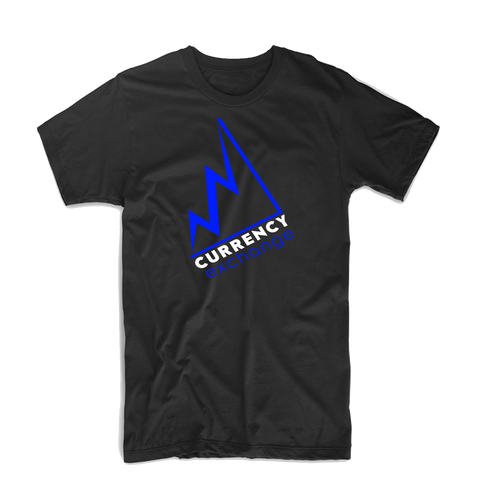 "Currency Exchange ""Stock Rise"" T Shirt (Black/Royal Blue/White)"