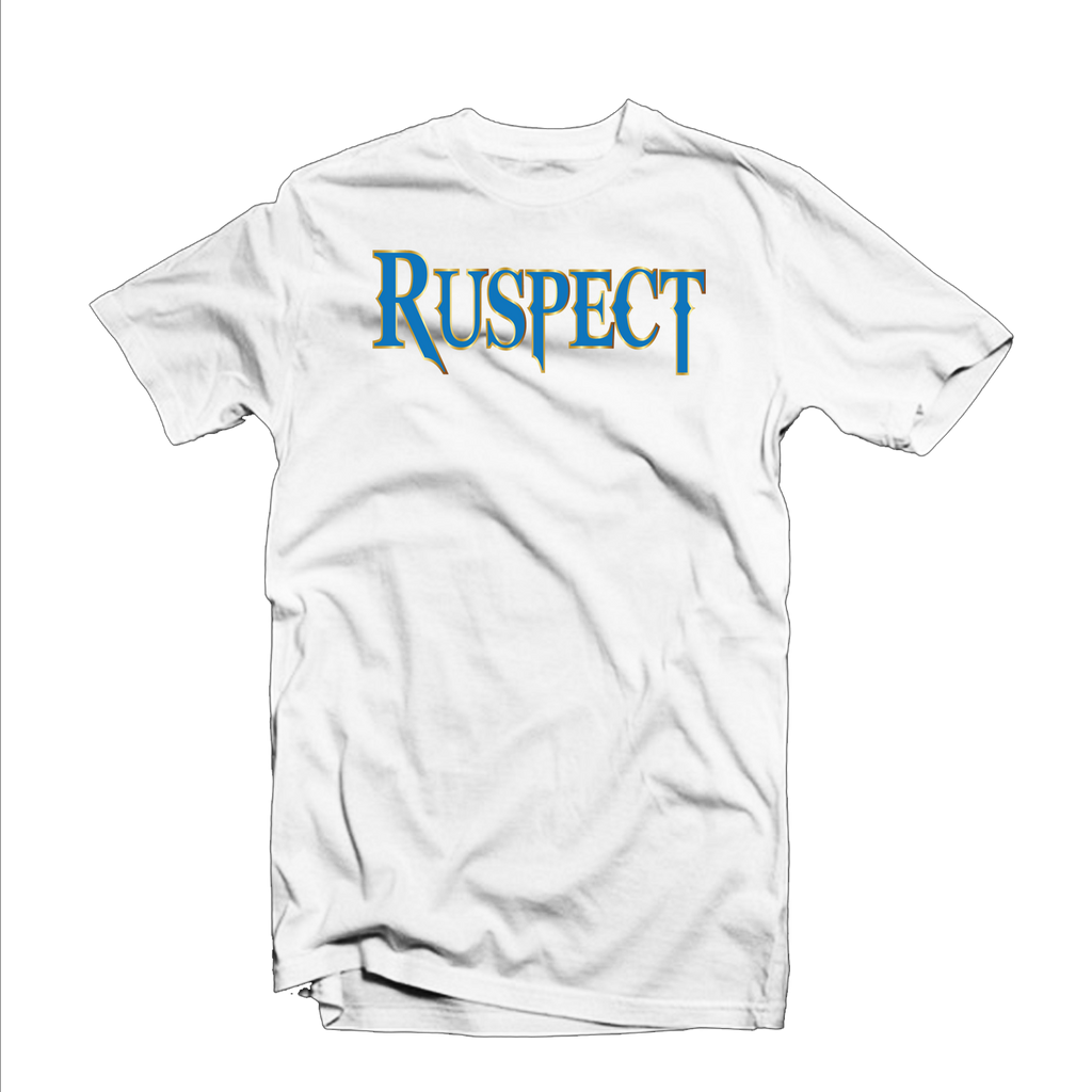 "Ruspect ""Original"" T Shirt (White/Yellow Outline/Light Blue)"