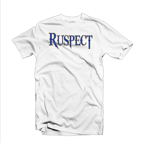 "Ruspect ""Original"" T Shirt (White/Yellow Outline/Royal Blue)"