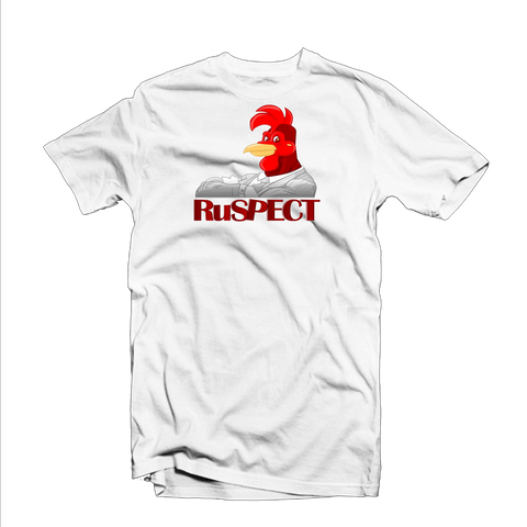 "Ruspect ""Rooster Biz"" T Shirt (White/Red/Grey)"