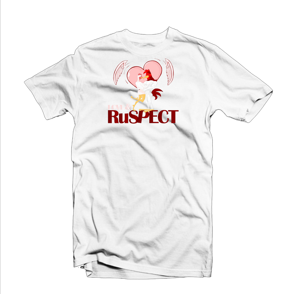 "Ruspect ""Love & Ruspect"" T Shirt (White/Red/Pink)"
