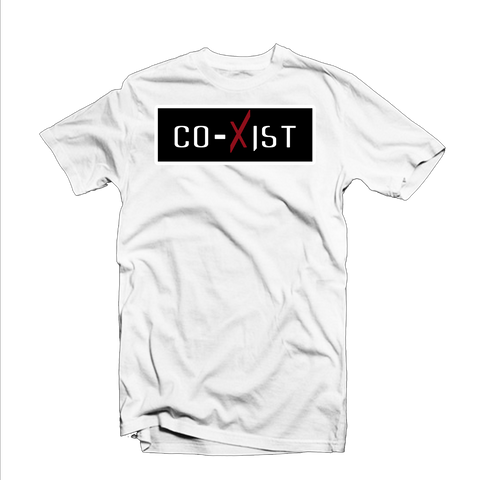 """CoXist"" T Shirt (White/Black/Red)"