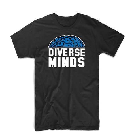 "Diverse Minds ""Top Brain"" T Shirt (Black/White/Blue)"