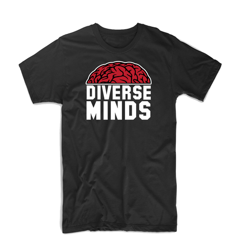 "Diverse Minds ""Top Brain"" T Shirt (Black/White/Burgundy)"