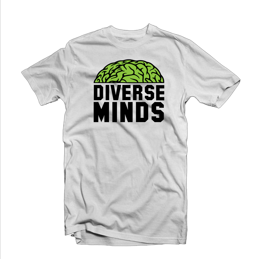 "Diverse Minds ""Top Brain"" T Shirt (White/Black/Lime)"