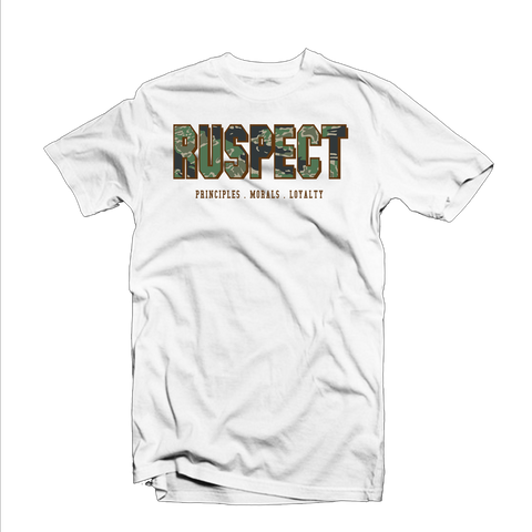 "Ruspect ""Fatigue"" T Shirt (White/Green/Brown)"