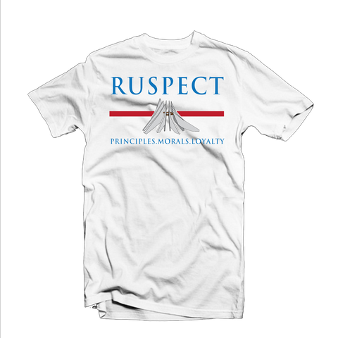 "Ruspect ""PML"" T Shirt (White/Blue/Red)"