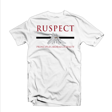 "Ruspect ""PML"" T Shirt (White/Burgundy/Black)"
