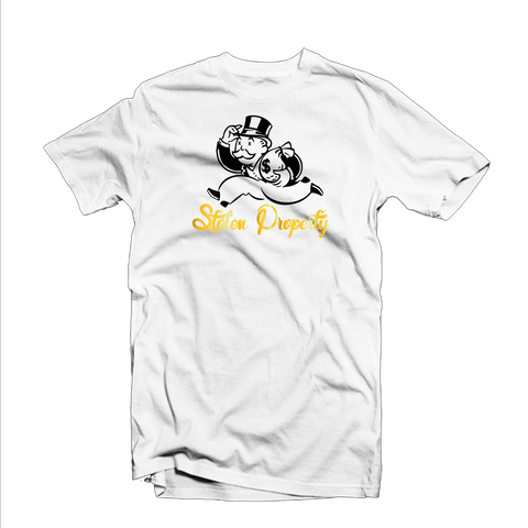 """Stolen Property"" T Shirt (White/Black/Gold)"