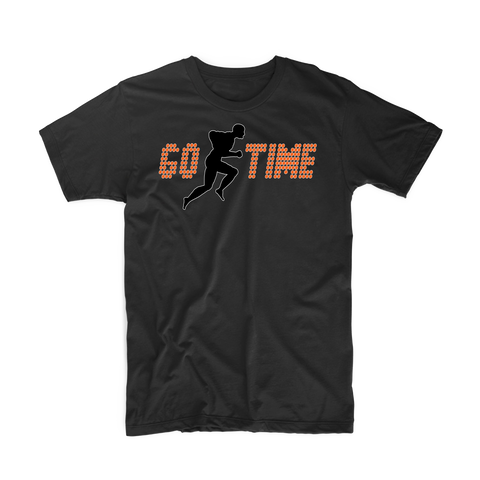 "Go Time ""Men's Workout"" T Shirt (Black/Orange)"