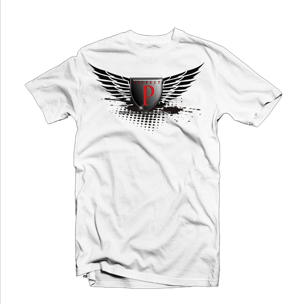 "Ruspect ""Winged P"" T Shirt (White/Black/Red)"