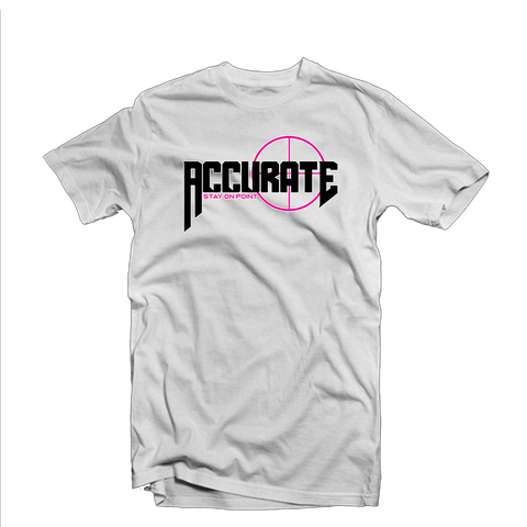 "Accurate ""Bullseye"" T Shirt (White/Pink)"