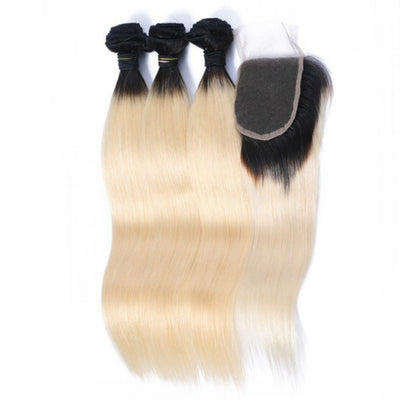 Bodywave Hair 3 Blonde Bundles & Closure with  1B at Roots