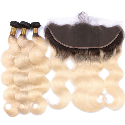 Bodywave Hair 3 Blonde Bundles & Frontal with 1B at Roots