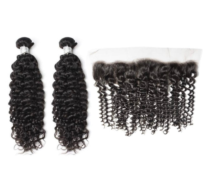 2 Curly Bundles & Frontal ( Goddess Collection)