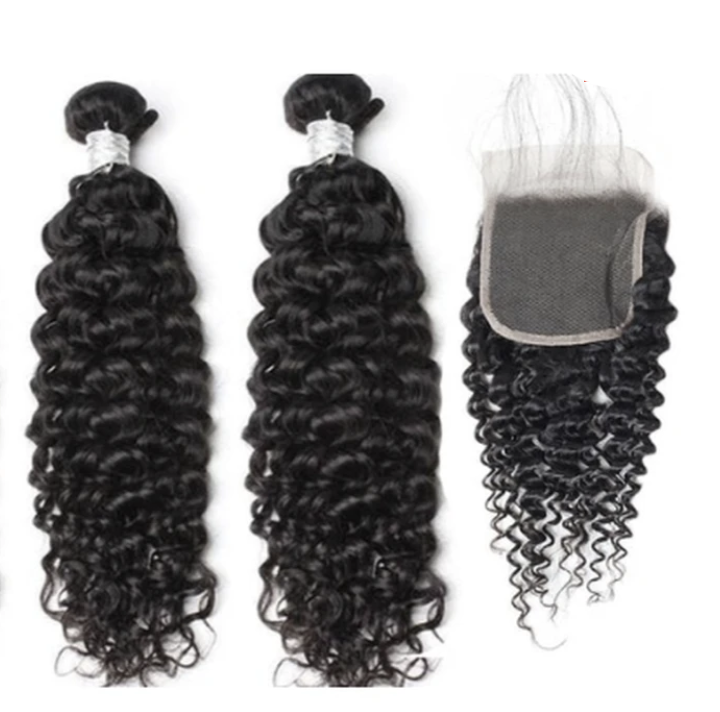 2 Curly Bundles  & Closure ( Goddess Collection)