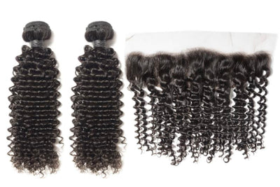 2 Curly Bundles & Frontal ( Industry Standard Collection)