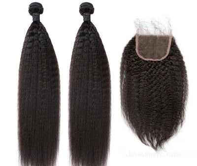 2 Kinky Straight Bundles & Closure ( Industry Standard Collection)