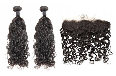 2 Natural Wave Bundles & Frontal ( Industry Standard Collection)