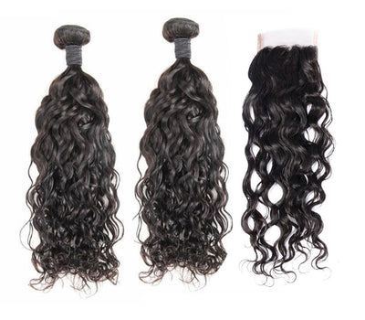 2 Natural Wave Bundles & Closure ( Industry Standard Collection)