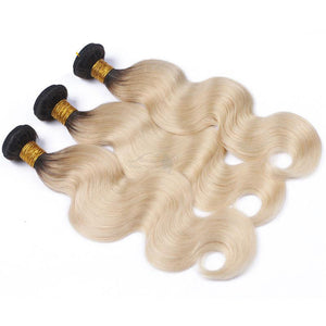 Bodywave Hair 3 Blonde Bundles with 1B at Roots