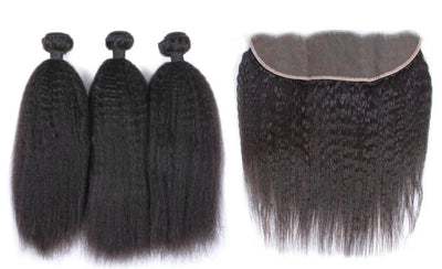 3 Kinky Straight Bundles & Frontal ( Industry Standard Collection)