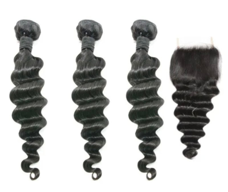 3 Loose Deepwave Bundles & Closure ( Industry Standard Collection)