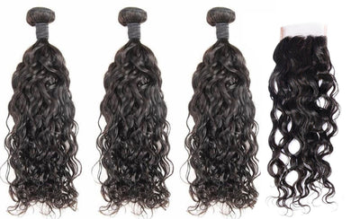 3 Natural Wave Bundles & Closure ( Industry Standard Collection)