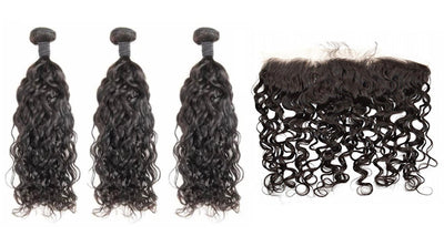 3 Natural Wave Bundles & Frontal ( Industry Standard Collection)