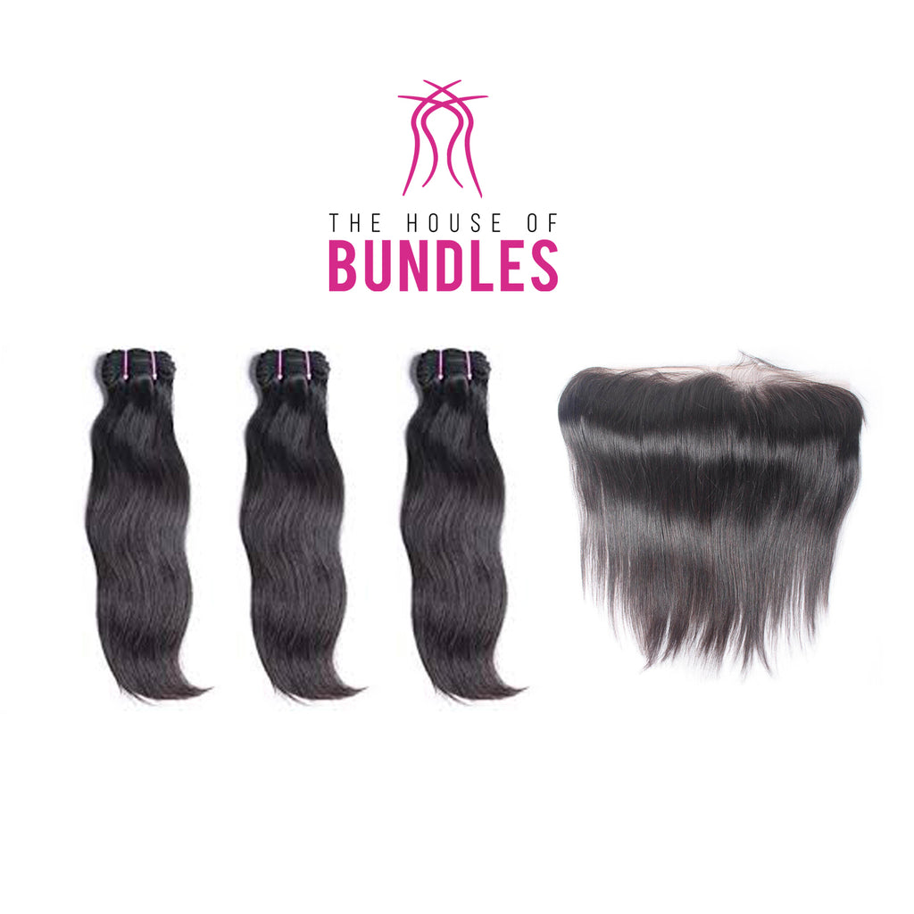 3 Raw Straight Bundles & Frontal