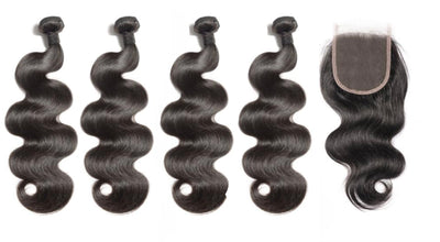4 Bodywave Bundles & Closure ( Industry Standard Collection)