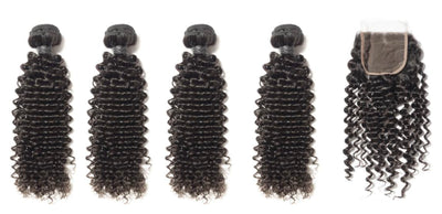 4 Curly Bundles & Closure ( Industry Standard Collection)