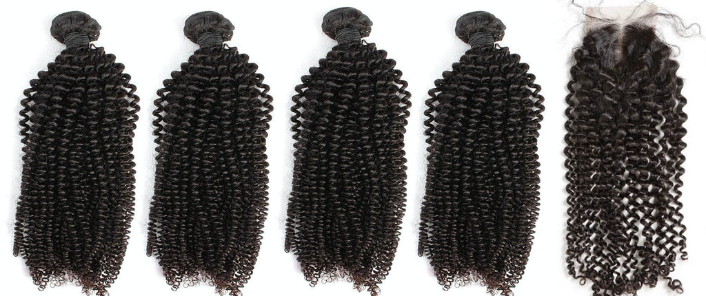 4 Kinky Curly Bundles & Closure ( Industry Standard Collection)
