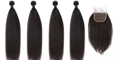 4 Kinky Straight Bundles & Closure ( Industry Standard Collection)
