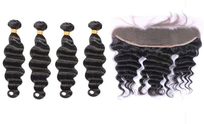 4 Loose Deepwave Bundles & Frontal ( I Am A Queen Collection)