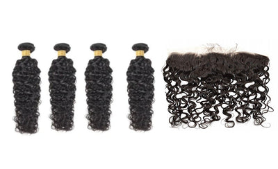 4 Natural Wave Bundles & Frontal ( I Am A Queen Collection)